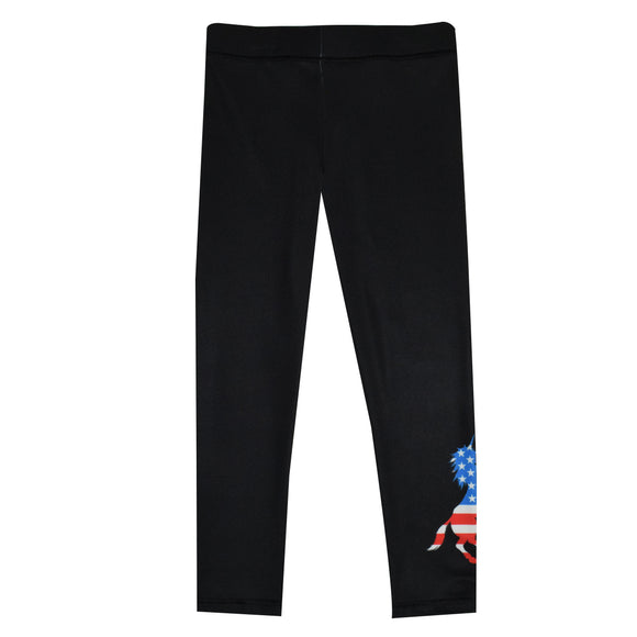 Unicorn USA Flag Black Leggings