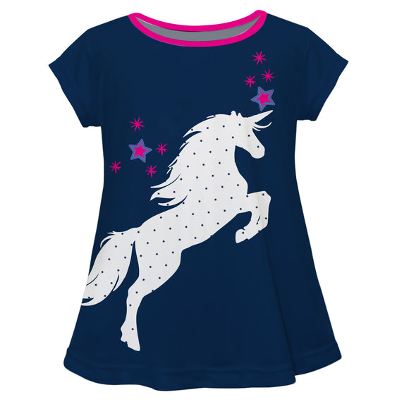 Unicorn Stars Navy Laurie Top Short Sleeve