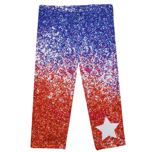 American Blue and Red Glitter Capri Leggings
