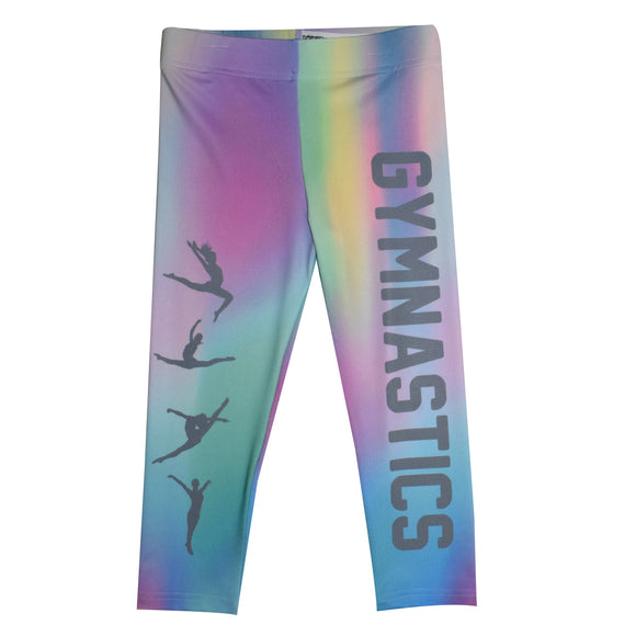 Gymnastics Silhouette Color Holographic Capri Leggings