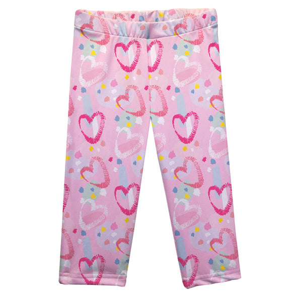 Hearts Print Pink Capri Leggings