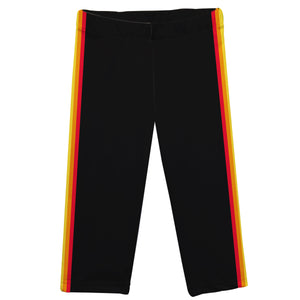 Rainbow Colors Stripes Black Capri Leggings