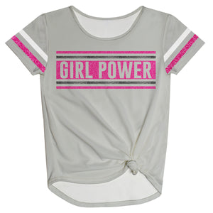 Girl Power Gray Knot Top Short Sleeve