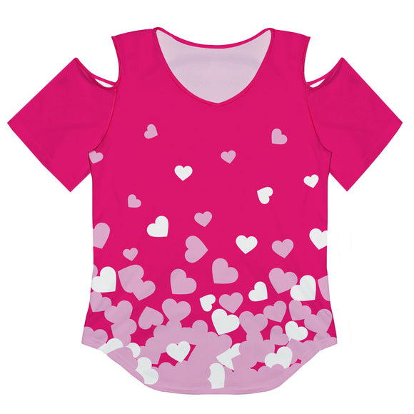 Hearts Print Hot Pink Cold Shoulder Top Short Sleeve