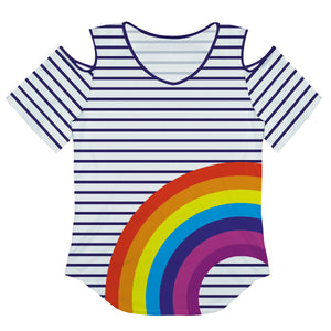 Rainbow White And Navy Stripes Cold Shoulder Top Short Sleeve