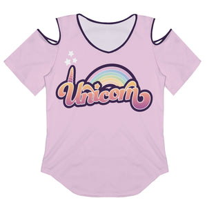 Unicorn And Rainbow Pink Cold Shoulder Top Short Sleeve