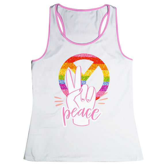 Peace White Girls Tank Top