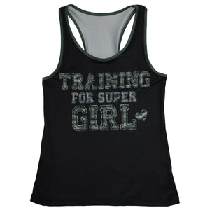 Training For Super Girl Black Girls Tank Top