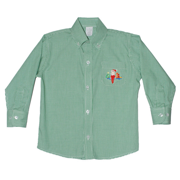 Elf on the Shelf Embroidered Green ck Button Down Shirt