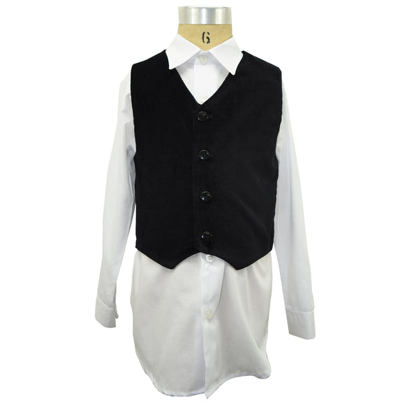 Black Velvet Vest and Shirt