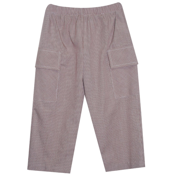 Brown Check Pull On Pant