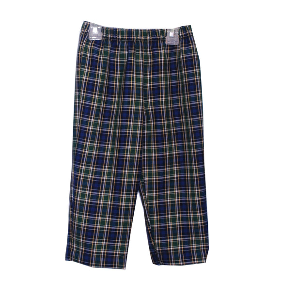 Royal and green plaid pull on pant