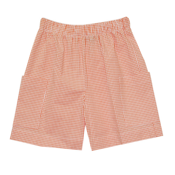Orange Check Cargo Shorts