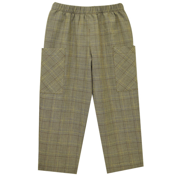 Dark Khaki Plaid Boys Pull on Cargo Pants