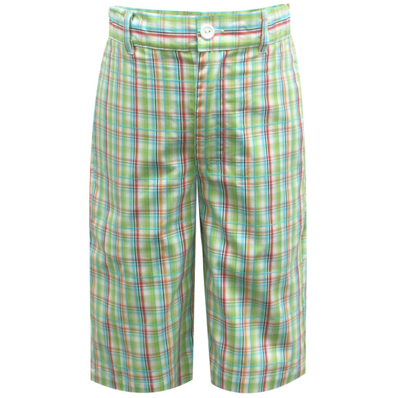 Lime Green Plaid Bermuda Shor ts