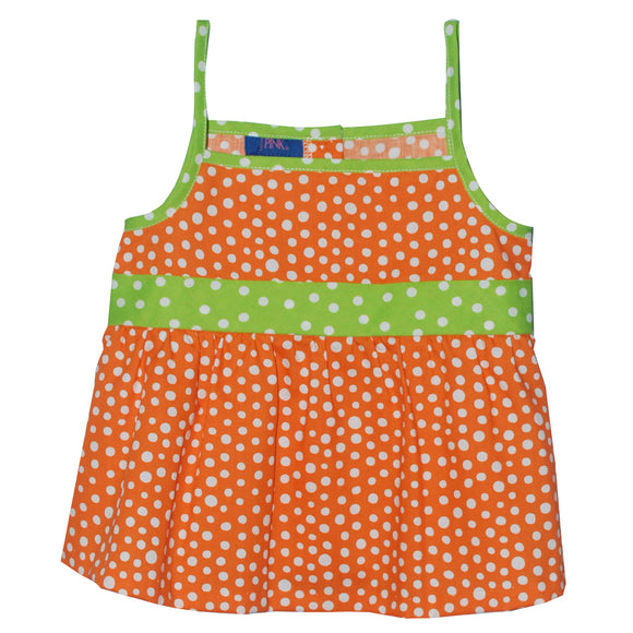 Orange Polka Dots Strap Blouse