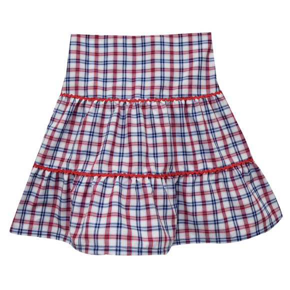 Blue and Red Plaid Peasant Skirt