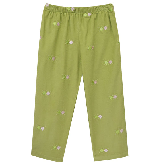 Pink Argyle Embroidery Girls Pull on Pants