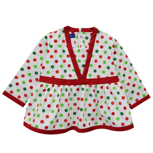 Green and Red Polka Dot V-neck Blouse