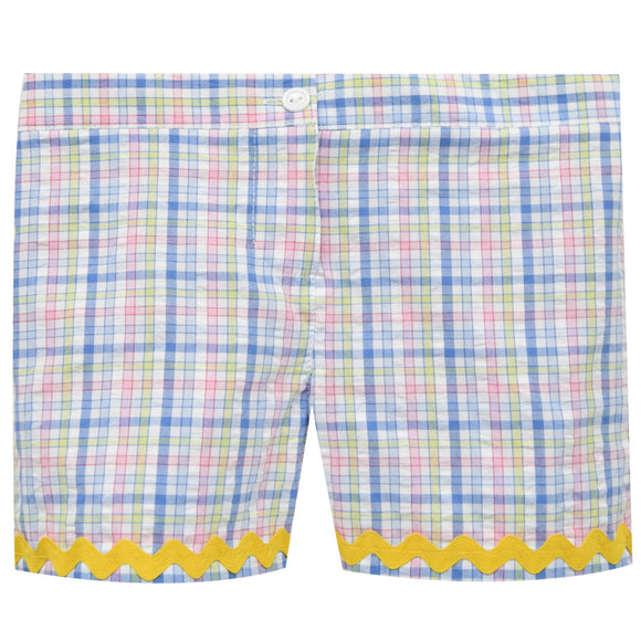 Blue and Pink Plaid Girls Short