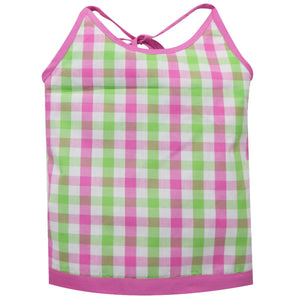 Pink and Green Check Halter Blouse