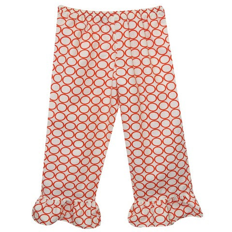 White Orange Print Girls Ruffle Pants