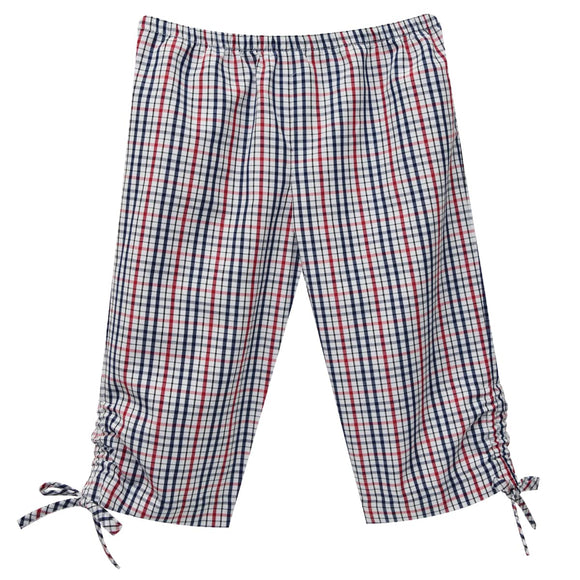 Navy And Red Plaid Capri Pant
