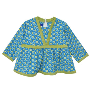 Aqua Polka Dot V-neck Blouse