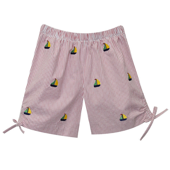Sailboat Embroidery Girls Short
