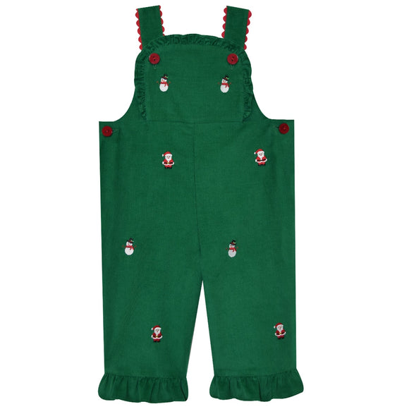 Christmas Embroidered Girls Overall