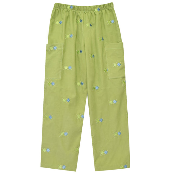 Blue Argyle Embroidery Boys Pull on Pants