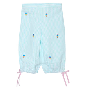 Ice Cream Embroidered Capri Pants