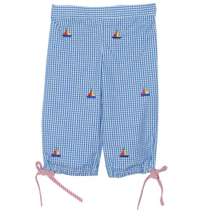 Sailboat Embroidered Capri Pants
