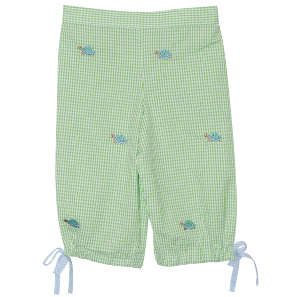 Turtle Embroidered Capri Pants
