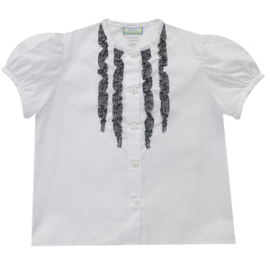White Blouse with Black Ruffle