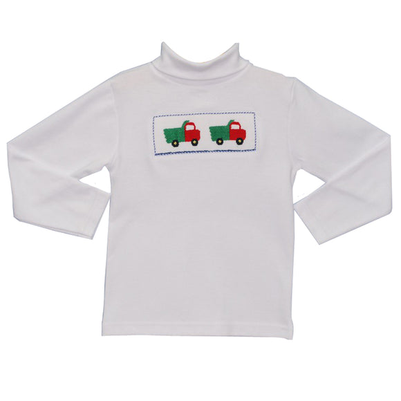 Smocked Truck Boys Turtle Neck