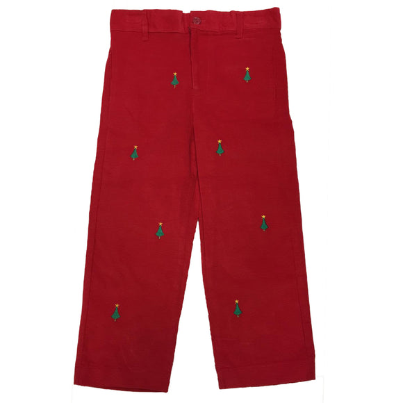 Embroidered Chritmas Tree Boys Structured Pant