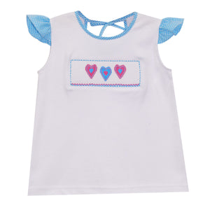 Hearts Smocked Girls Tee Shirt