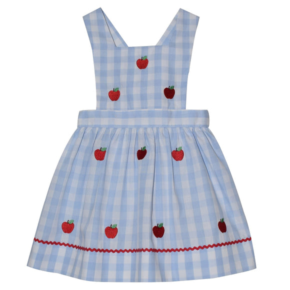 Embroidered Apples Girls Light Blue Gingham Jumper