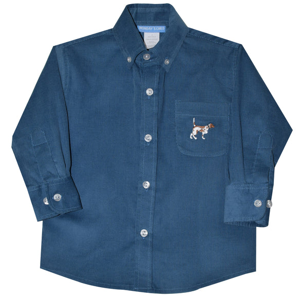 Pointer Embroidered Blue Corduroy Button Down Shirt Long Sleeve
