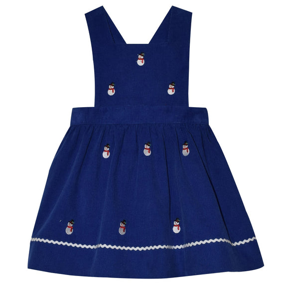Embroidered Snowmen Girls Royal Corduroy Jumper