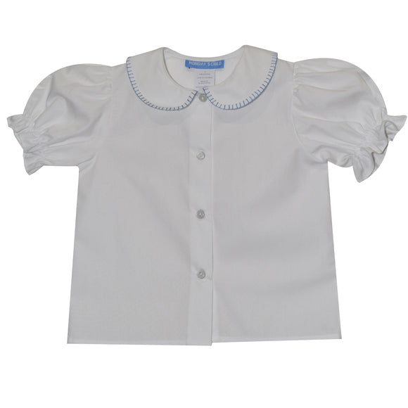 Light Blue Smocked White Solid Girls Blouse Short Sleeve