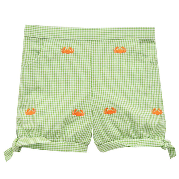 Crabs Embroidered Girls Short
