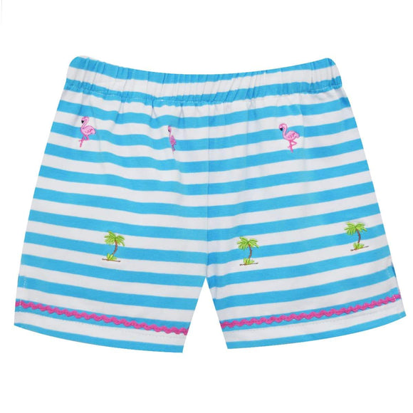 Flamingo and Palm Tree Emb Girls Knit Short