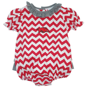 Arkansas Ruffle Chevron Girls Bubble Short Sleeve