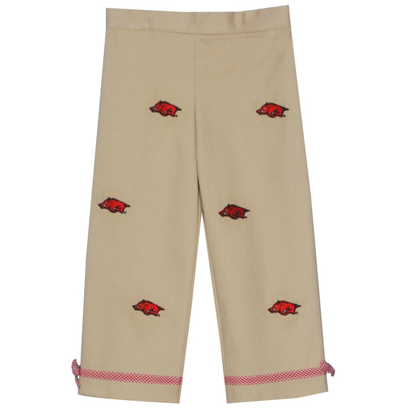 Embroidered Arkansas Girls Pants