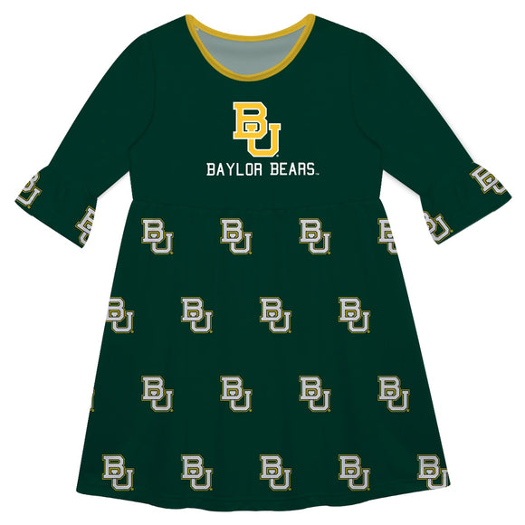 Baylor Print Green Amy Dress Three Quarter Sleeve