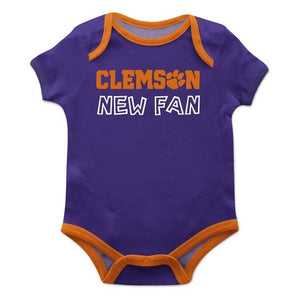 Clemson Solid Purple Boys Onesie Short Sleeve