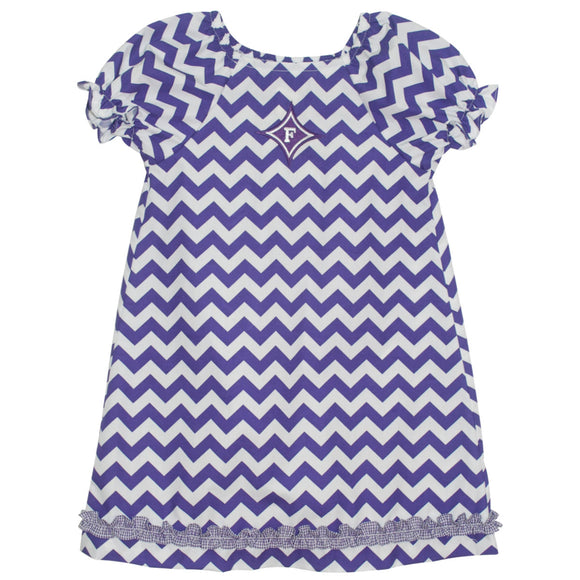 Furman Ruffle Chevron A Line Dress Short Sleeve