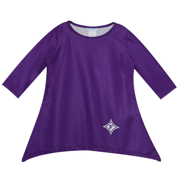 NCAA Furman University Solid Purple Long Sleeve Tunic Blouse